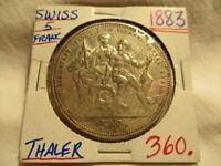 1883 SWITZERLAND 5 FRANCS LUGANO SHOOTING FESTIVAL SILVER THALER
