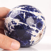 436g 71mm Large Natural Blue Sodalite Quartz Crystal Sphere Healing Ball Chakra