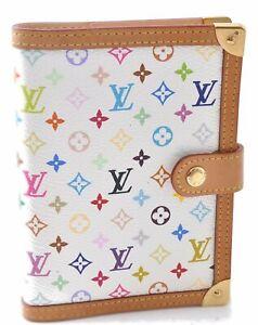 Auth Louis Vuitton Monogram Multicolor Agenda PM White Day Planner Cover C3710