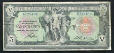 1917 $5 Canadian Bank Of Commerce Toronto, On Banknote Ch. #75-16-04-06b Vf