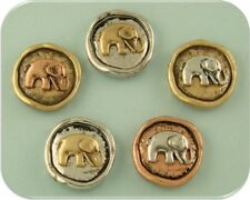 2 Hole Beads Elephant Circles Rustic Finish Bush Animal ~ 3T Metal Sliders QTY 5