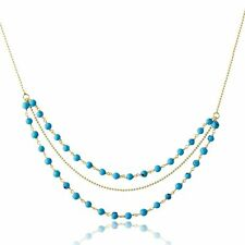 14K YELLOW GOLD OVER 925 STERLING SILVER TRIPLE STRAND TURQUOISE BEAD NECKLACE