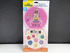 Despicable Me Pink Minions Lip Balm Gloss Kit Mirror 2 brushes 7 colors New