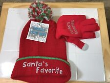 Christmas Holiday Hat and Glove Set  Red
