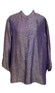 Eileen Fisher Women's Linen Silk Button Front Mission Style Collar 1X