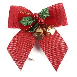 5Pcs Handmade Christmas Bows With Iron Bells Christmas Tree Decorations Party