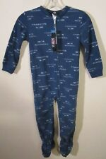 NWT Seattle Seahawks Kids Boys One Piece Logo Footed Pajamas M 5/6 Blue MSRP$32