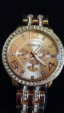 GENEVA Quartz Watch with CZ  Round Dial and Steel Watch Band for Women