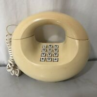 Vintage Western Electric Yellow Push Button Donut Telephone