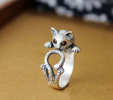 Kitty cat wrap ring Vintage Silver Crystals Adjustable Kitten Ring
