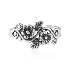 925 Sterling Silver Flowers Toe Ring - Adjustable - Face Height 10mm - 1.3 Grams