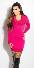 BRIGHT PINK COWL NECK jumperdress long sleeve DRESS 8 10 12 GLITTER