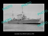 OLD POSTCARD SIZE AUSTRALIAN NAVY PHOTO OF THE HMAS CANBERRA SHIP c1950 2