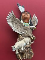 Native Apache Indian Totem,  Man, Eagle, Lioness Figurine Indigenous Collectible