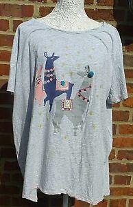 Ladies Short Sleeved Night-Shirt / Bed Top Grey Llama Design UK Size 20