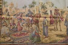 Vintage Belgium Woven Tapestry Outdoor Arabian Market&Dancer Scene