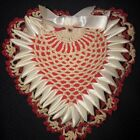 Antique Victorian Handmade Heart Pincushion Crocheted 7' Red and Ivory Stuffed