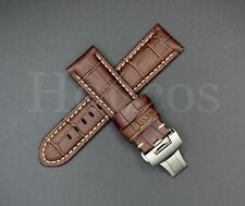 24MM Calf Leather Alligator Watch Band Strap Deployment Buckle Fits For Panerai