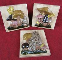 Set of 3 Vintage Hand Painted Hand Crafted Ceramic Mushroom Wall Decor