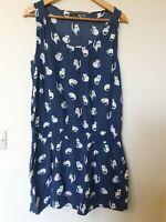 Zara Cat Print Thin Relaxed Fit Dress Size L 14 16