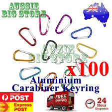 100x Carabiner Clip Key Ring Holder Chain Cable Hiking Hook Camping D Shape N