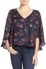 Flutter Sleeve cape top Blouse CUPCAKES AND CASHMERE small S floral shopbob H&M