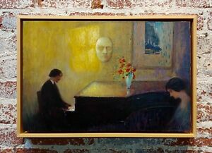 Deseine -Piano Player mourning the Mask of Beethoven-1920s French Oil Painting