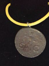 "Roman Coin Claudius WC1 Made From English Pewter On 18"" Yellow Cord Necklace"
