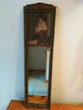 Antique Vintage 1920's Victorian Wood Mirror Picture Wall Hanging 2 Part