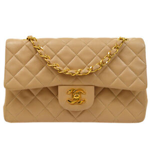 CHANEL Classic Double Flap Small Chain Shoulder Bag 1708821 Beige Lambskin 91610