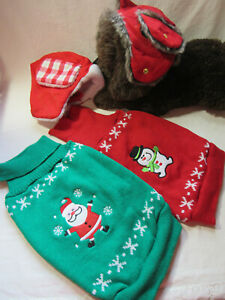 PET HOLIDAY CHRISTMAS FASHION APPAREL DOG SWEATERS Coat HATS SIZE L NWOT
