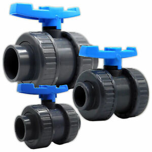"""PVC Ball Valve Double Union Solvent Weld 0.75"""" to 4"""" Pond Fish Koi Pipe Fitting"""