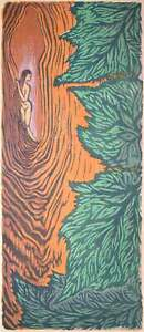 Natures Colors Original Japanese style Woodblock Print Woman Hiding in Tree