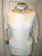 WHITE HOUSE BLACK MARKET sz M - ECRU SHAKER STITCH SWEATER - NWT - 36953