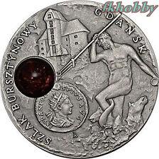 Niue Island 2008 silver 1$ Amber Route Gdansk Danzig Rare