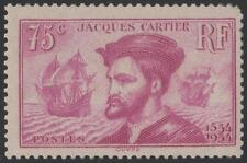 "FRANCE STAMP TIMBRE N° 296 "" JACQUES CARTIER AU CANADA 75c LILAS"" NEUF xx A VOIR"