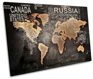 Distressed World Map Print SINGLE CANVAS WALL ART Picture Grey