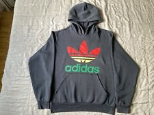 Adidas Originals Rasta Black Hoodie Jacket Sz L Bob Marley Double Trefoil
