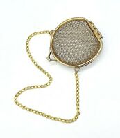 Vintage Nickel plated mesh metal wire purse with chain handle