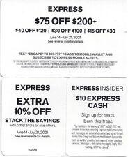 Express Coupons $75 off $200 - 10% off & $10 Express Cash Expires 7/21/21