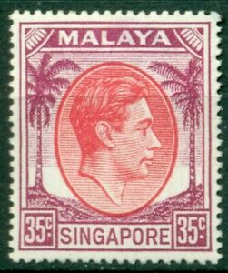 Singapore Scott #15 MH King George VI 35c viol & rose red CV$10+