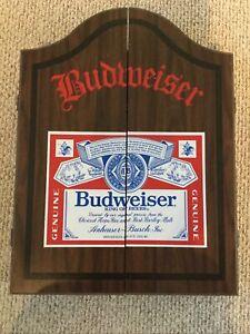 VINTAGE Budweiser Beer Wooden Dart Board Case