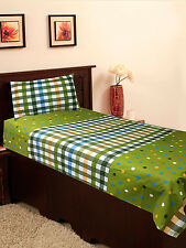 Homefab India Green Cotton Single Bed-Sheet (Single181)