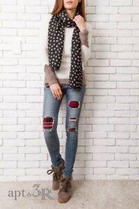 rag & bone the skinny sloane plaid repair patch jeans size 28