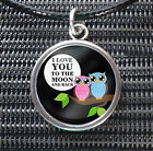 I Love You To The Moon And Back Owl Charm Pendant Black Leather -ette Necklace
