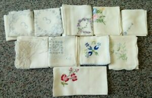 Collection of 10 Vintage Floral Embroidered Cotton Lace Handkerchiefs