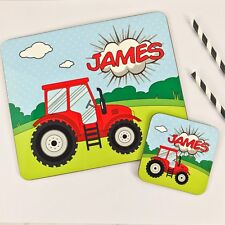 Personalised Wooden Glossy Tractor Placemat & Coaster Set for Kids Dinner Table