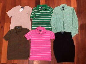 POLO RALPH LAUREN Boy 10 12 Dress Shirt Green White Gingham Pink Golf Black Vest