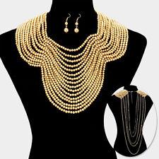 "18"" gold faux pearl choker bib collar back drop draped necklace 1.75"" earrings"