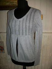 Pull leger gilet maille ajourée ESPRIT L 38/40 brodé logo coton/polyamide gris